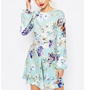 NWT ASOS Blue Floral Long-sleeve Skater Dress